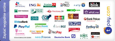 Płatności internetowe zapewnia serwis Transferuj.pl , dzięki któremu mogą Państwo wybrać jedną z 40 metod płatności